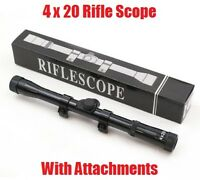 Tactical Mountable 4x20 Riflescope Mounts Rifle Bb Gun Telescopic Scope Sight