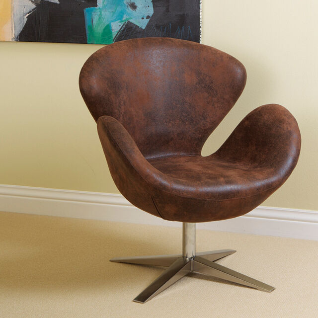 set of 2 modern swan design brown aged microfiber accent arm chairs