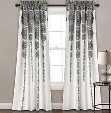 "Black White Modern Crest Stripe Geometric Drapes Curtains Set of 2 Panels 84"" L"