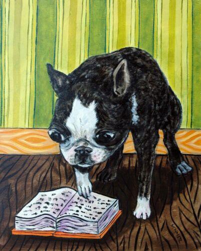 BOSTON TERRIER reading artwork  dog art print 8.5x11 librarian gift
