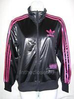 Adidas Chile 62 Originals Womens Track Top Jacket Shiny Black Pink UK 10 Eur 36