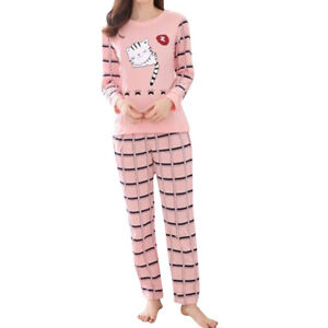 Women-Lady-Sleepwear-Long-Sleeve-Pajamas-Sets-Cat-Printing-Home-Suit-Nightwear