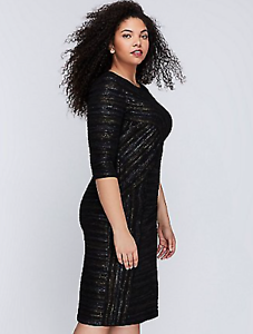 NEW NEW NEW LANE BRYANT Metallic Fitted Sheath silhouette Dress Plus 28 4X Crinkled NWT 1bc6ae