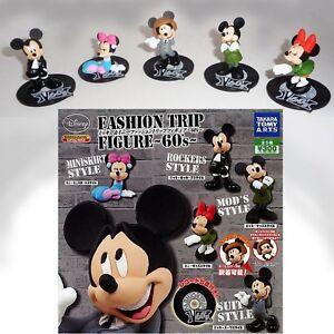 Set-5-Figuras-Coleccion-Mickey-Minnie-Fashion-Trip-Sixties-TOMY-Gashapon-Disney