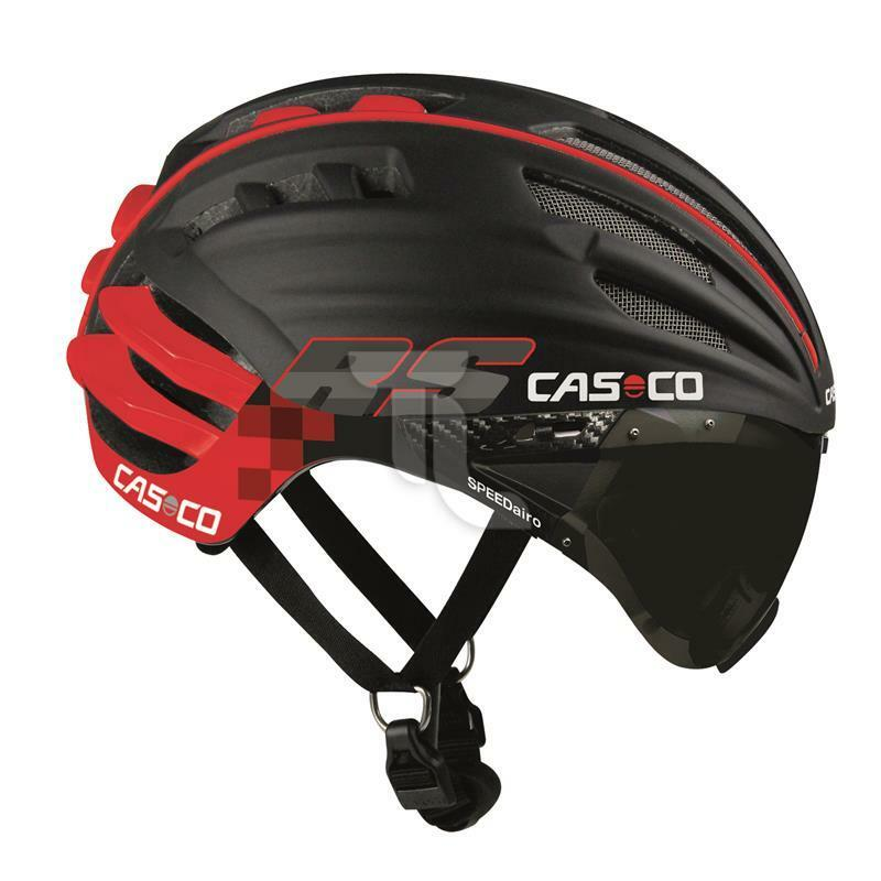 Casco SpeedAiro RS Radhelm schwarz-rot Zeitfahrhelm mit Vautron Visier Triathlon