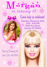 BARBIE PINK CUSTOM PRINTABLE BIRTHDAY PARTY INVITATION & FREE THANK YOU CARD