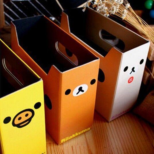 2640 Home Desk Cosmetic Stationery Storage Box Cartoon Rilakkuma Bear Box 1pc^