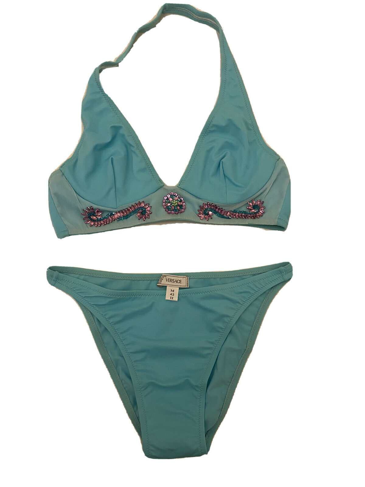GIANNI VERSACE COUTURE BLUE BIKINI TOP & BOTTOM WITH CRYSTAL TRIMS SIZE...