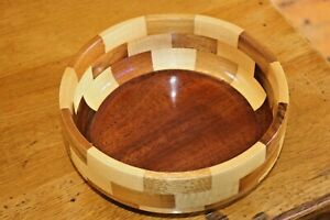 Vintage-Mid-Century-Wooden-Fruit-Nuts-Bowl-2-Tone-Cambridge-Ware-9-034-Wood-Dish