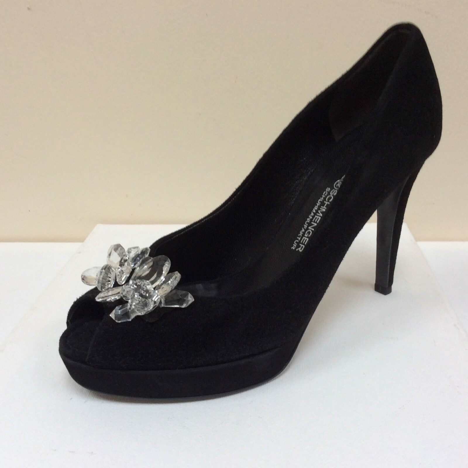 K&S noir suede crystal embellished peep toe courts, UK 4 EU 37,   BNWB