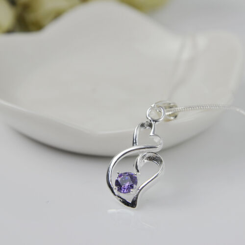 Fashion Women Heart 925 Sterling Silver Plated Pendant Necklace Chain Jewelry T5