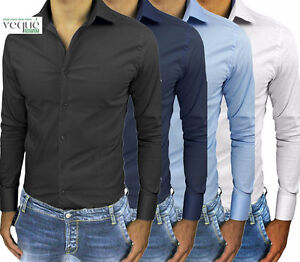Camicia-Uomo-Celeste-Bianca-Slim-Fit-Sartoriale-Manica-Lunga-Cotone-TG-s-m-l-xl