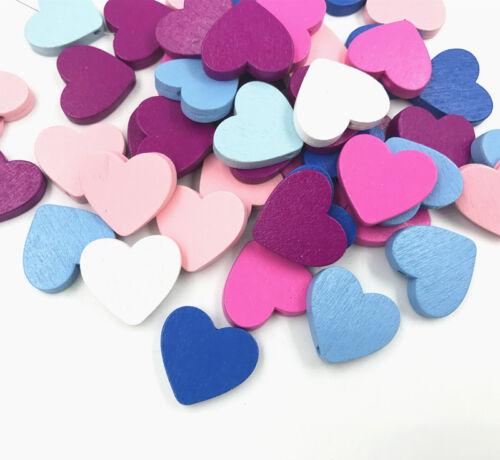 100X en bois cœur forme Perles Spacer Perles Bois Perles À faire soi-même Accessoires Enfants Jouet