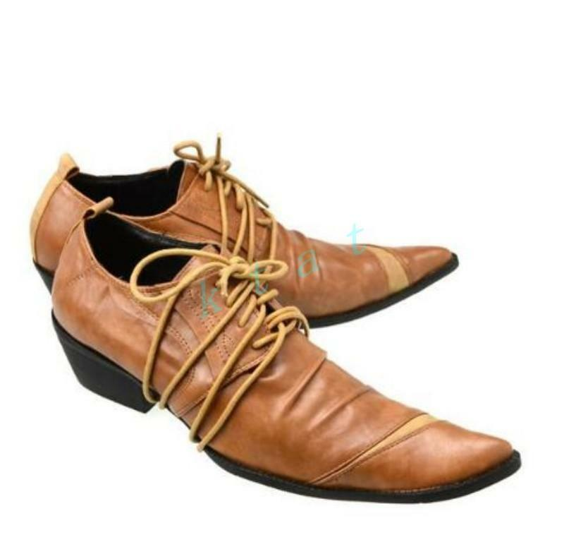 Uomo Lace Up Pelle Dress Shoes Formal Pointed Toe Shoes Clubwear Casual Party