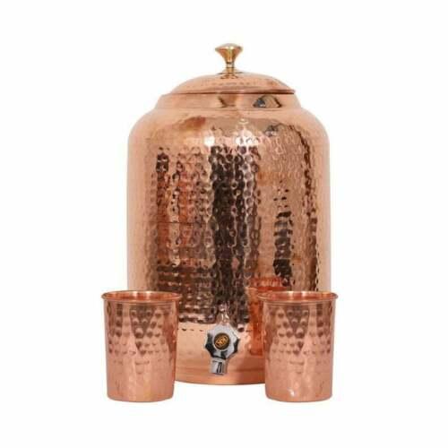 Indian Handmade Hammered Pure Copper Water Dispenser Pot 8 Liter 2 Glasses free