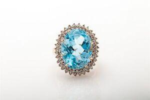 ad160d6b4 Estate $4000 12ct Genuine Blue Topaz Diamond 14k Gold HALO Ring | eBay