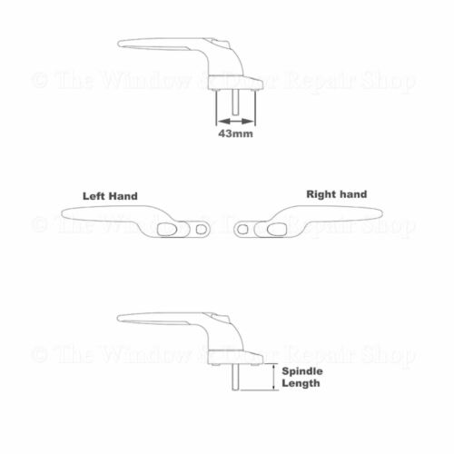 Securistyle blanc coudé Espag UPVC Fenêtre Poignée De Main Gauche 40 mm Broche