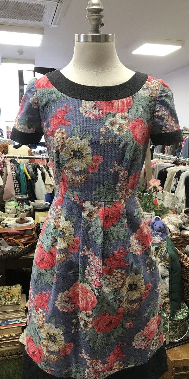 Cath Kidston bluee Floral Dress Size 8, with Grey Trim - new without tags