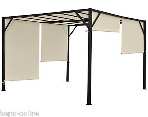 3x3 4x3 4x4 m pavillon garten terrasse sonnenschutz pergola sonnensegel garten c ebay. Black Bedroom Furniture Sets. Home Design Ideas