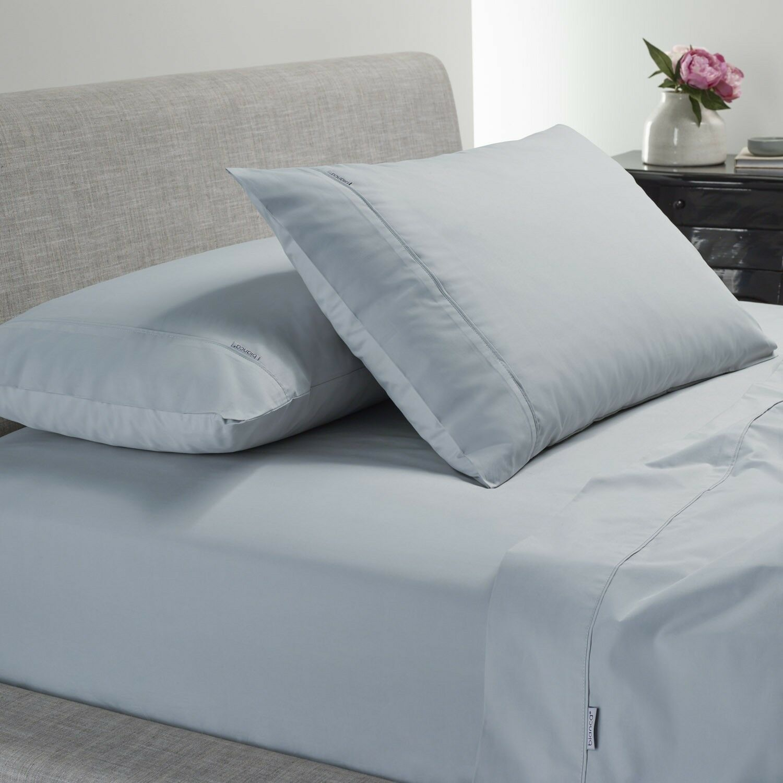 Weiß Heston 300TC 100% Cotton Percale Sheet Set Steel Blau