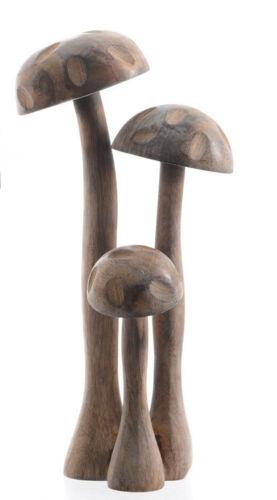 Groupe de 3 champignons Debout Décoration 30 cm couleur naturelle mango tree wood