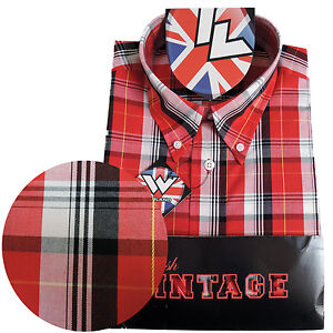 Warrior-Short-Sleeve-Button-Down-Shirt-COOK-Mod-Skinhead-Red-White-Black-Yellow