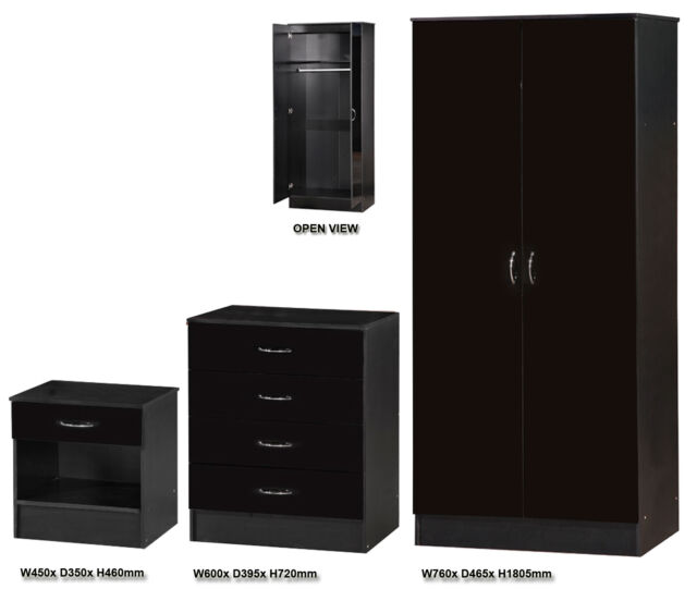 3 Piece Flat Pack Trio Bedroom Furniture Set | Wardrobe, Chest of Draws, Bedside