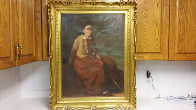 Antique 1920th Listed Hungarian artist PETER SZULE oil painting