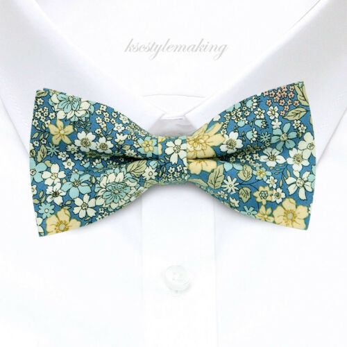 Brand new Blue and Multi-color Flowers Tuxedo Fashion Floral Boys Bow Tie B1500