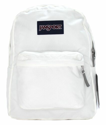 New Authentic Jansport Superbreak Backpack School Bag WHITE super break