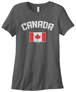 Threadrock Women/'s On The Eh Team T-shirt Funny Canada Canadian Flag