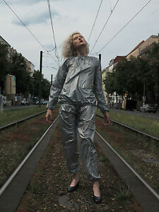 Lluvia-traje-impermeable-plata-rave-90s-True-vintage-Silver-Suit-rainproof-sauna