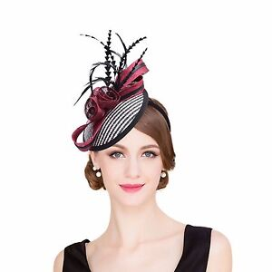 Womens-Sinamay-raffia-Fascinator-Cocktail-Hat-Wedding-Church-Kentucky-Derby-T221