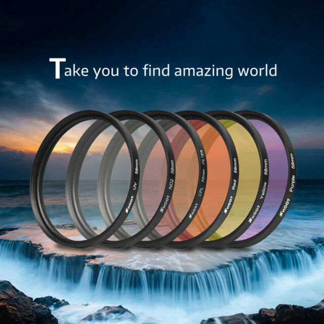 58mm Lens Filter for GoPro Hero 5 6 7 Black Waterproof Case With Adapter Ring