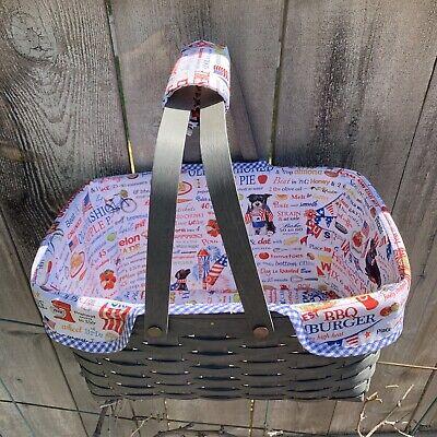 Custom Patriotic Picnic Pets LINER for Longaberger Bread Basket