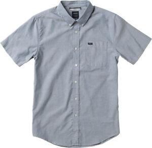 NWT-RVCA-That-039-ll-Do-Oxford-Shirt-SS-Distant-Blue-White-M3514TDS