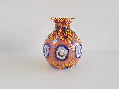 """ Murrine "" Vase Murano Formentello Eli Vetri D'arte Original Label Height 14 Cm Orders Are Welcome. Other Antique Glass"