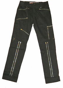 34-36-or-38-034-Black-Stretch-Canvas-Punk-Trousers-Bondage-Pants-Goth-NEW