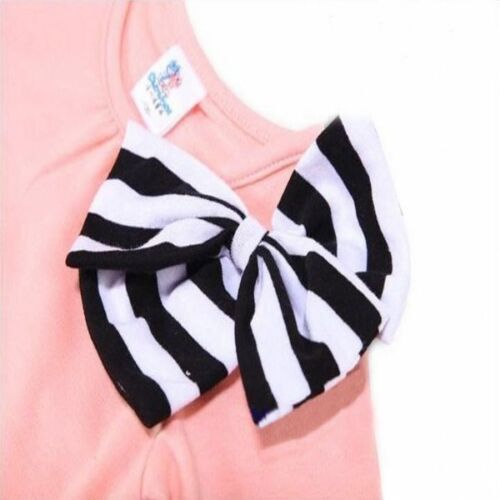 2pcs Girls Kids Bow Tops Shirt Dress Striped Pants Tracksuit Set Bowknot Ske15