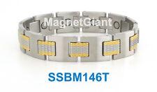 SSBM9T Gold and Silver Men/'s magnetic stainless steel link bracelet 5000 Gauss