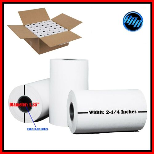 "200 Rolls 2 1//4/"" x 50/' Cash Register Credit Card Terminal Receipt Thermal Paper"