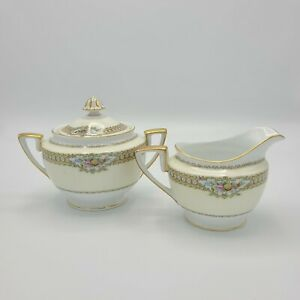 Noritake 1930's Rodista 590 crafted in Japan Footed Creamer & Sugar Bowl w/Lid