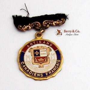 Artisans Canadiens Francais Medal Caron Freres R.P. Maker Gold Plated Enamel1900