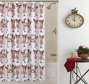 Image Is Loading NEW Lorraine Home Fashions Merry Kiss Moose Shower