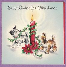 VTG HALLMARK CHRISTMAS CARD TWO DOGS WRAPPING HOLLY AROUND A BURNING CANDLE