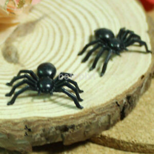 100PCS-Plastic-Black-Spider-Trick-Play-Toy-Party-Haunted-House-Decor