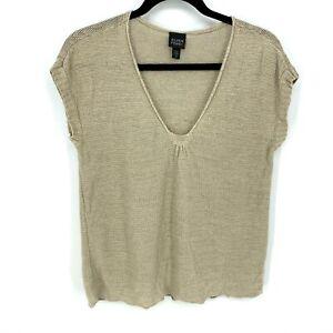 Eileen-Fisher-Size-Medium-Solid-Brown-100-Hemp-V-Neck-Cap-Sleeve-Loose-Knit-Top