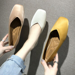 UK-Womens-Ladies-Flats-Pumps-Loafers-Soft-Leather-Comfy-Office-Work-Casual-Shoes
