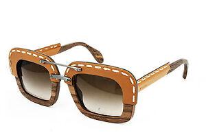1192cc4790d9 PRADA RAW SPR 26R Wood Square Brown Leather Sunglasses PR 26RS UA7 ...
