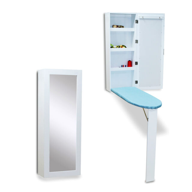 Wall Mounted Ironing Board Cabinet With Dressing Mirror Hide Away  Storage,White